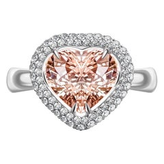 2.5 Carat Peach Pink Natural Heart Shape Morganite 14 Karat White Gold Ring