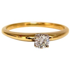 .25 Carat Petite Solitaire Round Cut Diamond Ring 14 Karat H/Vs2