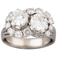 2.4 Carat Platinum and Diamonds French Crossover Ring