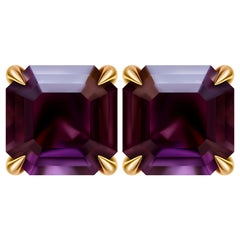 2.5 Carat Purple Spinel 14 Karat Yellow Gold Stud Earrings
