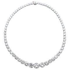 25 Carat Riviera Tennis Necklace Excellent Cut