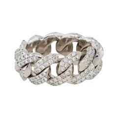 2.5 Carat Round Cut Diamond Pave Cuban Link Ring 14 Karat