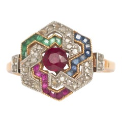 .25 Carat Ruby Yellow Gold Engagement Ring