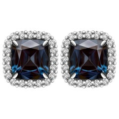 2.5 Carat Sapphire Spinel Diamond 14 Karat White Gold Stud Earrings