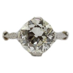 2.5 Carat Single Stone Edwardian Old European Cut Diamond Engagement Ring