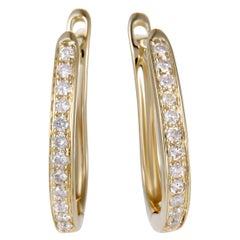 .25 Carat Small 14 Karat Yellow Gold Diamond Hoop Earrings