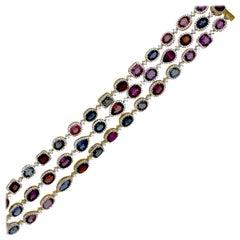 25 Carat Spinel and Diamond Bracelet