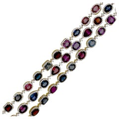 25 Carat Spinel and Diamond Link Bracelet Two Toned 18 Karat