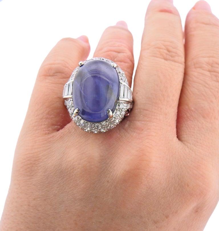 Women's 25 Carat Star Sapphire Cabochon Platinum Diamond Ring For Sale