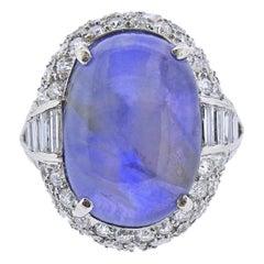 25 Carat Star Sapphire Cabochon Platinum Diamond Ring