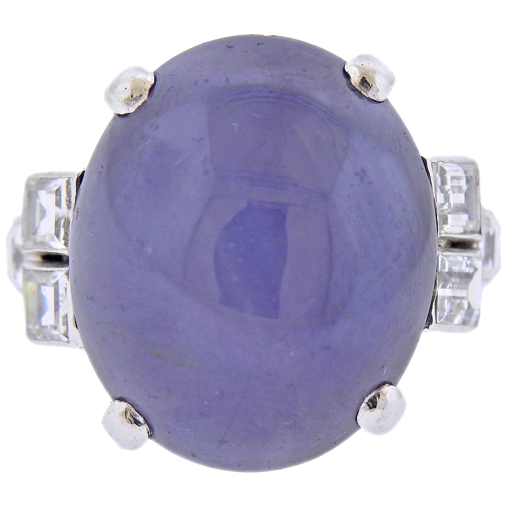 25 Carat Star Sapphire Diamond Platinum Ring