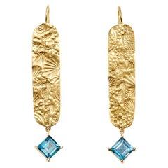 2.5 Carat London Blue Topaz and 18 Karat Gold Seascape Earrings