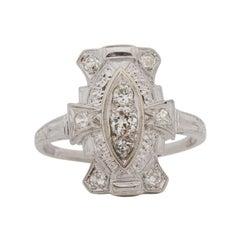 .25 Carat Total Weight Art Deco Diamond 18 Karat White Gold Engagement Ring