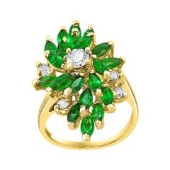 2.5 Ct Natural Emerald, Marquise Stone and Diamond Ring 14 Karat Yellow Gold