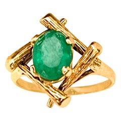 2.5 Ct Natural Emerald, Oval Stone Brazilian Ring 14 Karat Yellow Gold
