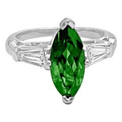 2.5 Ct Natural Marquise Cut Green Tourmaline & 2 Baguettes Diamond Ring Platinum