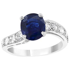 2.5Ct Round Ceylon Blue Sapphire and Diamond Cocktail Ring in Platinum Estate