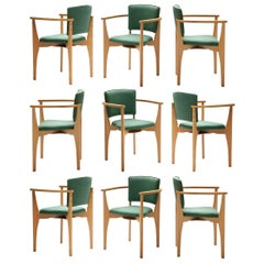 25+ Dining Chairs in Beech and Green Upholstery