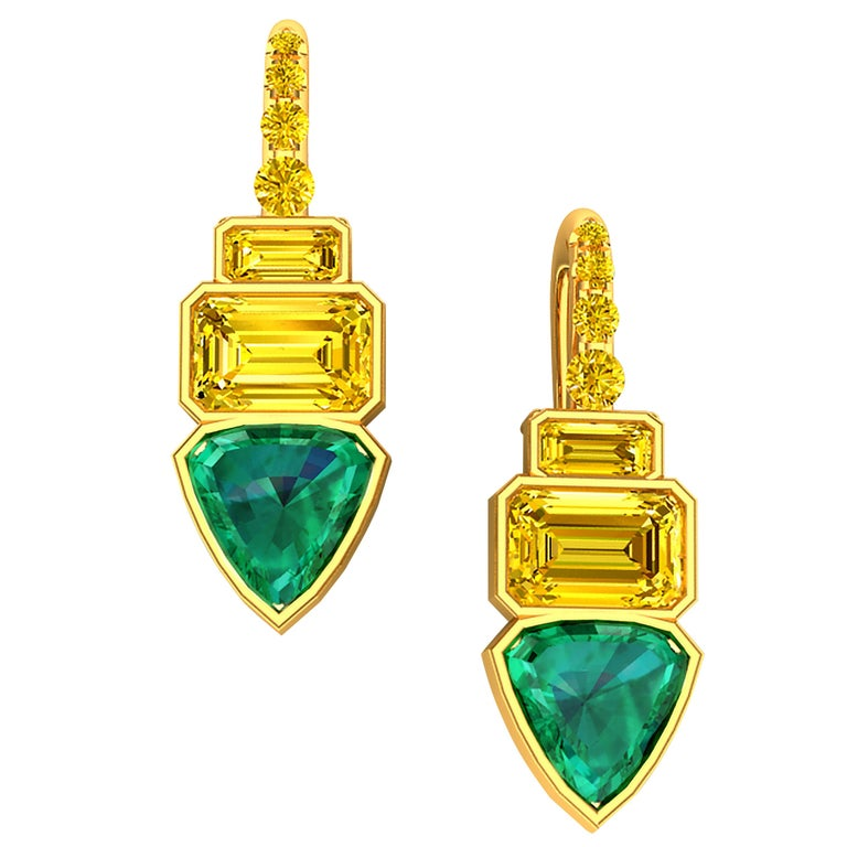2.5 GIA Certified Fancy Vivid Yellow Diamonds and Emerald Drop Earrings For Sale