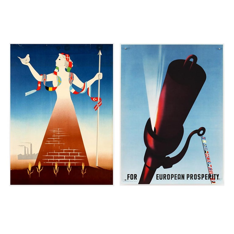 Paper 25 Original Marshall Plan Posters, a Complete Collection of the Contest Winners For Sale