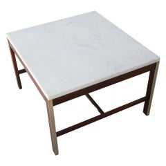 "25"" Paul McCobb for Calvin Walnut Brass and Marble Coffee Side Table"