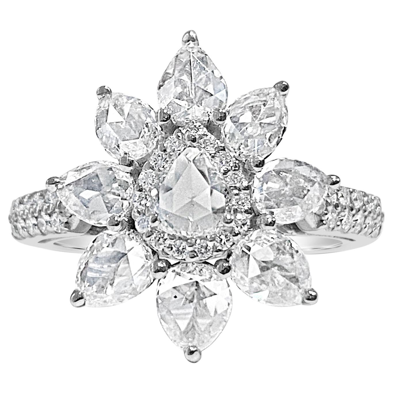 2.5 Pear Shaped Rose Cut Diamond Ring with Round Brilliant Diamonds, 18 KT by JR