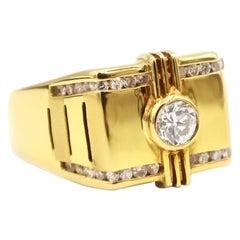 25 Pointers Single Diamond Channel Setting 18 Karat Yellow Gold Men's Ring