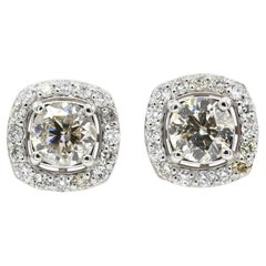 2.5 TCW Round Cut Diamond SI1/GH Accent Fine Stud Earrings 14 Karat White Gold