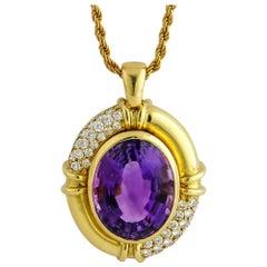 2.50 Carat 18 Karat Yellow Gold Large Oval Amethyst Diamond Pendant Necklace