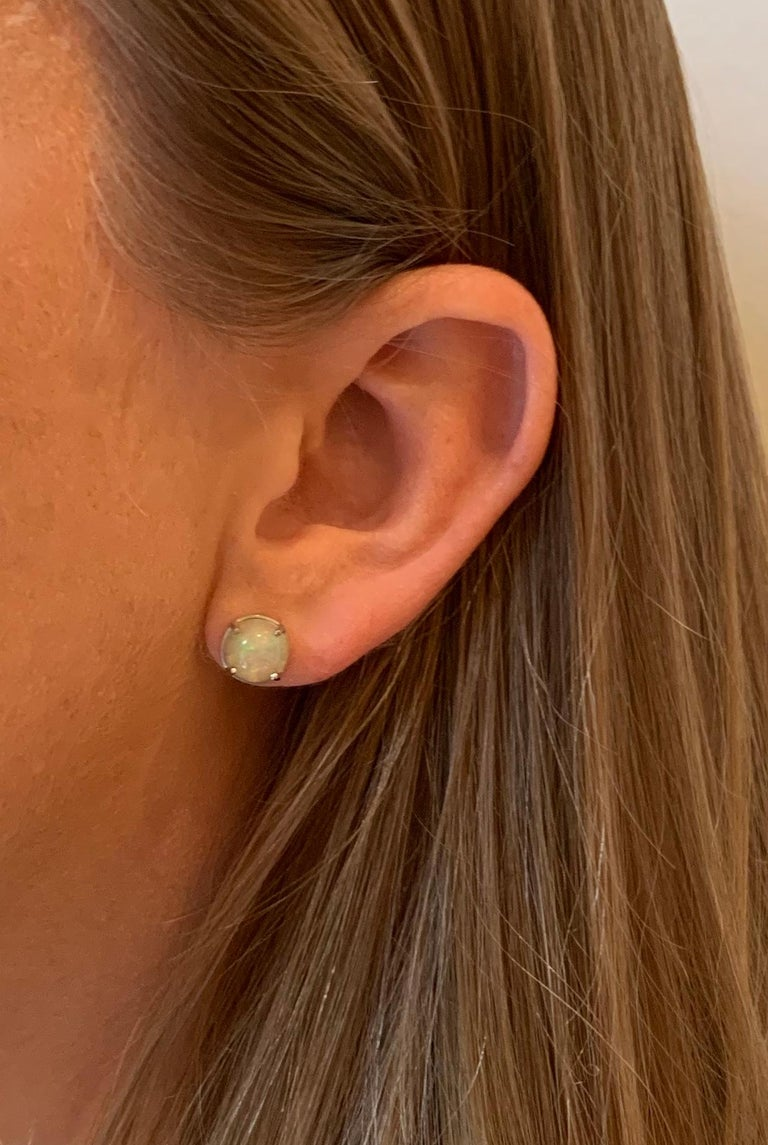 2.50 Carat AAAA Round Welo Opal Stud Earrings Set in Platinum For Sale 5