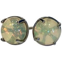 2.50 Carat AAAA Round Welo Opal Stud Earrings Set in Platinum