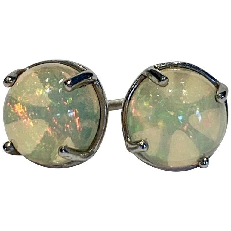 2.50 Carat AAAA Round Welo Opal Stud Earrings Set in Platinum For Sale