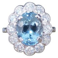 2.50 Carat Aquamarine and Diamond Cluster Ring in 18 Carat White Gold