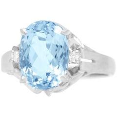 2.50 Carat Aquamarine and Diamond Platinum Ring