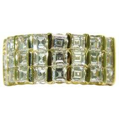 2.50 Carat Ascher / Square Cut Diamonds Band G/H VS 14 Karat Channel Deco