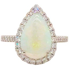2.50 Carat Australian Opal and Diamond Halo Engagement Ring 14 Karat White Gold