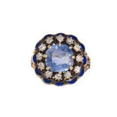 2.50 Carat Blue Diamond Yellow Gold Engagement Ring