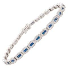 2.50 Carat Blue Sapphire and White Diamond Tennis Bracelet 14 Karat White Gold