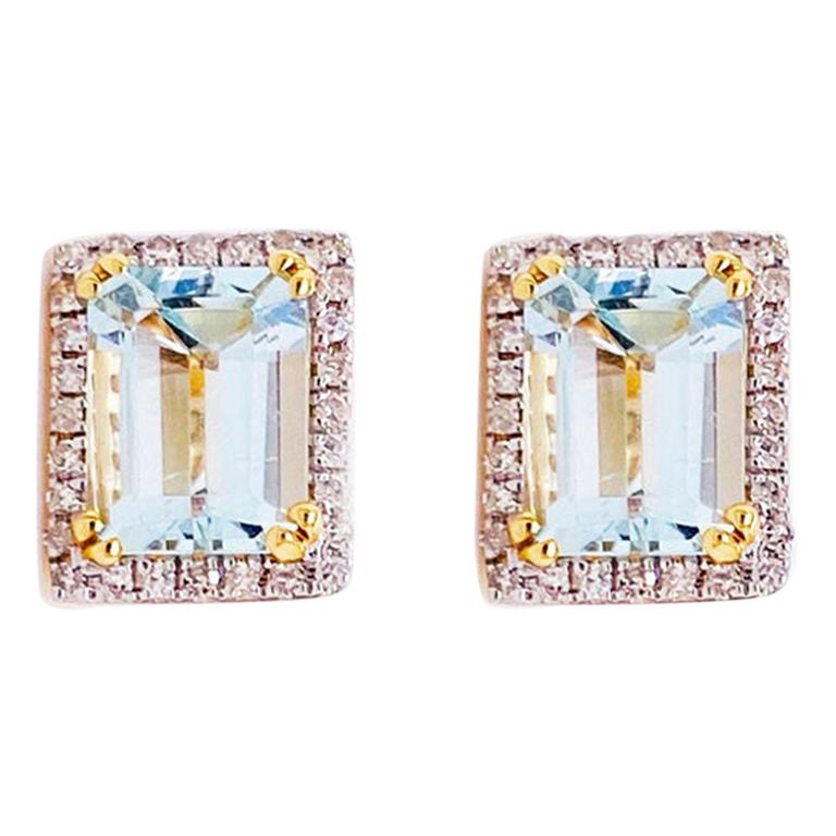2.50 Carat Blue Topaz and Diamond Halo Earring Studs 14 Karat Gold Emerald Topaz