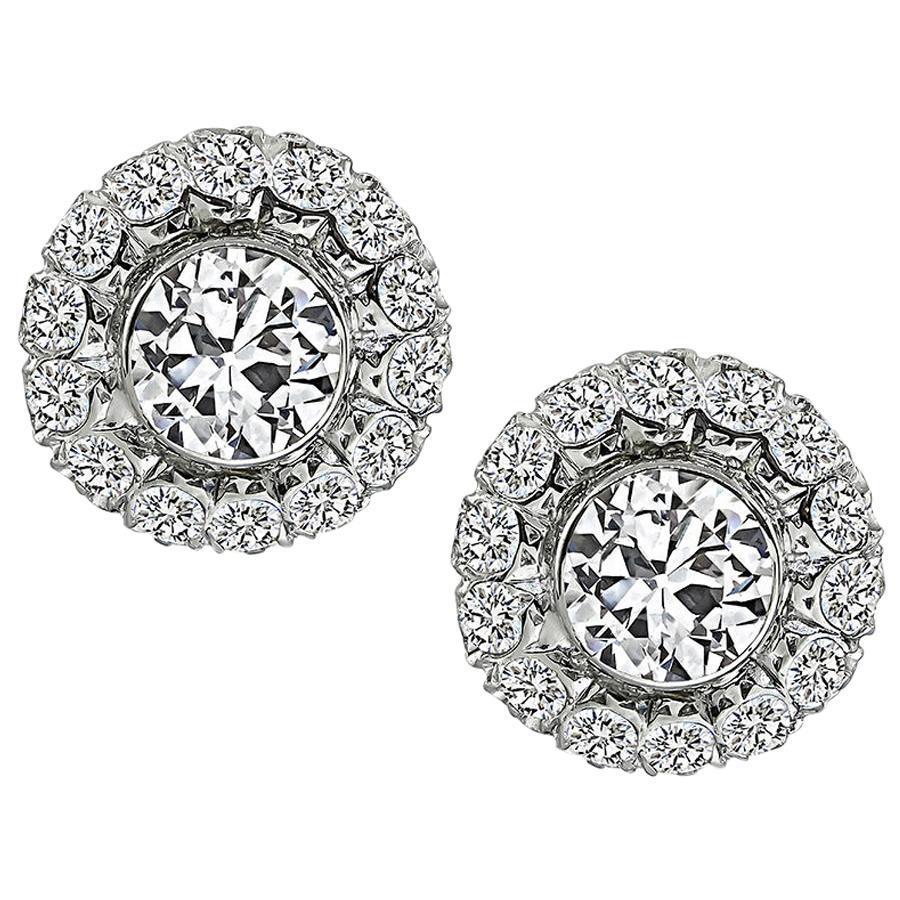 2.50 Carat Center Diamond 1.50 Carat Side Diamond Earrings