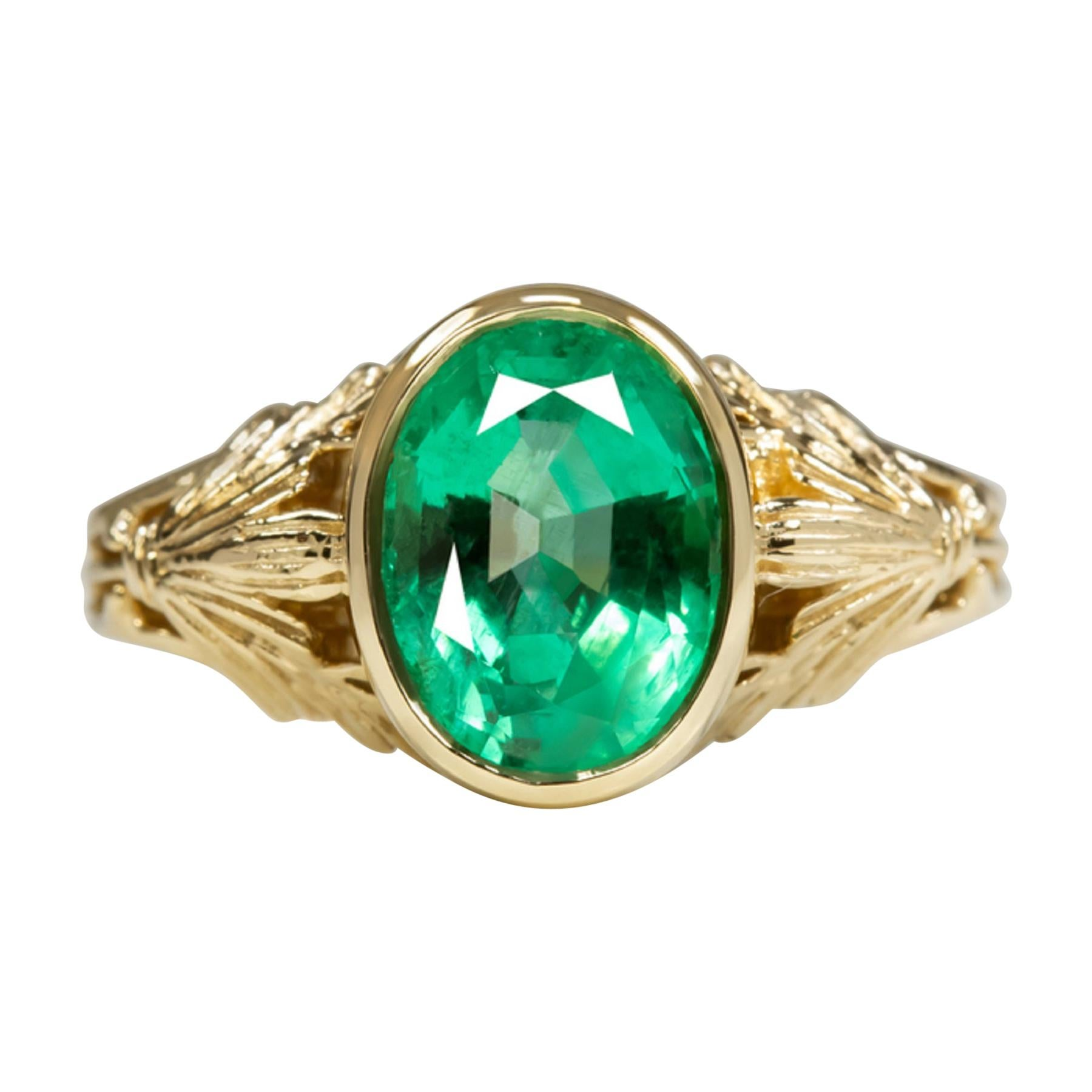 2.50 Carat Colombian Oval Emerald Solitaire Ring