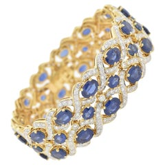2.50 Carat Diamond and 32 Carat Sapphire Encrusted Link Bracelet