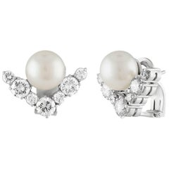 2.50 Carat Diamond and Pearl Gold Chevron Earrings