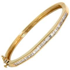 2.50 Carat Diamond Bangle Baguette Channel Bracelet 14 Karat