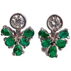 2.50 Carat Diamond Emerald Cocktail Cluster Earrings 18 Karat White Gold