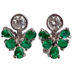 2.50 Carat Diamond Emerald Cocktail Cluster Earrings 18 Karat White Gold