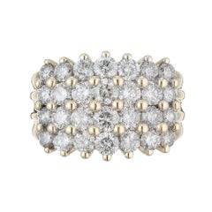 2.50 Carat Diamond Four Row Gold Band Ring