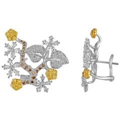 2.50 Carat Diamond Gold Flower Branch Earrings