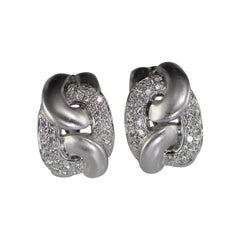 2.50 Carat Diamond Knot White Gold Earrings