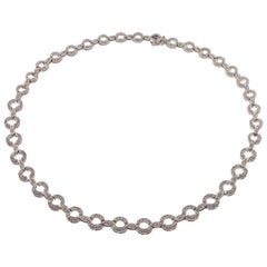 2.50 Carat Diamond Link Necklace in White Gold
